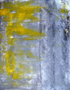 Abstract Art Painting Yellow Grey Love Mixed