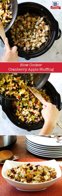 Save room in the oven and make Thanksgiving stuffing in the slow-cooker instead. Savory sage, parsley and onion combine with sweet and tangy chopped apples and cranberries for a classic fall stuffing.