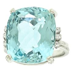 Aquamarine and diamonds in platinum.
