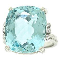 Aquamarine and diamonds in platinum.