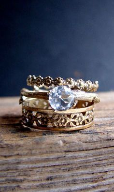 Gold Plated Stack Rings White Topaz Floral Sterling Silver Ring