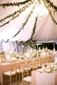 I love the idea of outdoor weddings, and large tents like these allow for beautiful decor and practical shelter from all types of weather!
