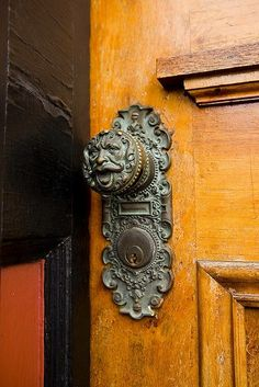 Love interesting door knobs and knockers. This is a gorgeous example. Door Knobs And Knockers, Knobs And Handles, Door Handles, Cool Doors, Unique Doors, Door Accessories, Door Furniture, Windows And Doors, Front Doors