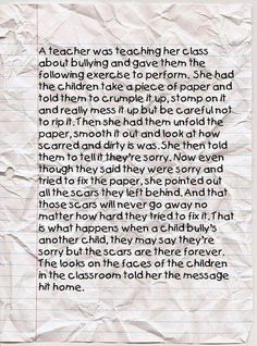 "Wow!  This is a terrific aide to teach about kindness verses bullying!!!  MUST DO - Lori  ""The Crumpled Piece of Paper"""