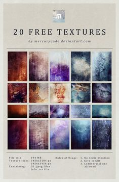 Courtesy of Sam from Mercurycode on DeviantArt, we have a huge pack of 20 high resolution textures just waiting to be used in your designs.