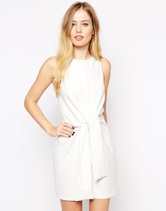 Image 1 of ASOS Sleeveless Shift Dress with Tie Waist Detail