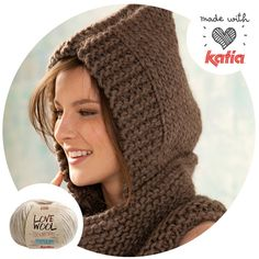 pattern knit crochet woman hooded cowl autumn winter katia 8020 97 g Diy Crochet And Knitting, Chunky Knitting Patterns, Knitting Designs, Knit Patterns, Free Knitting, Crochet Stitches, Crochet Hats, Hooded Scarf Pattern, Hooded Cowl