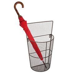 Wall Mounted Dark Brown Metal Wire Mesh Storage Organizer Basket / Umbrella Holder Rack / Waste Bin MyGift http://www.amazon.com/dp/B00Y40SI6A/ref=cm_sw_r_pi_dp_e-iJwb00ZQBAE