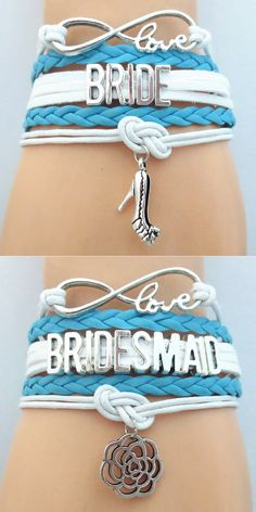 Show off the Bridal Party with these premium Infinity Love hand-made Braided Leather Bracelets! Don't Miss our Sales Event. Makes a great wedding gift for the Bridesmaid or Maid of Honor.