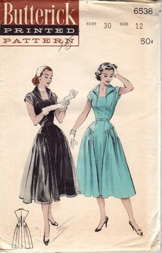 FACTORY FOLDED 1950's Misses' Dress with Wing Collar by HelaQ, $22.00