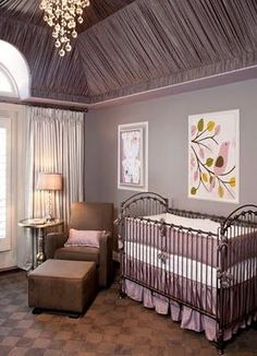 Ceiling drapery and a gumdrop chandelier for this dark mauve, taupe, and chocolate nursery. Click for more views of this belle's palace.