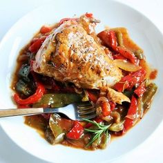 Creole-Style Smothered Chicken and Sweet Peppers