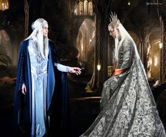 Thranduil and Oropher. Oropher is Manwe cosplay from Tygron Design
