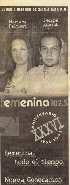 Anuncio del turno con Mariana Palmieri en Radio Femenina.