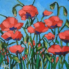 """Daily Paintworks - """"Little Poppy"""" - Original Fine Art for Sale - © Mary Anne Cary"""