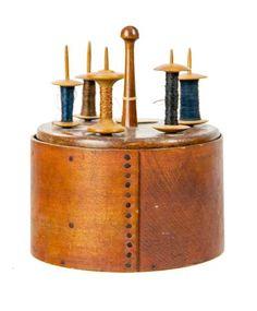 Shaker Spool Holder, Spools, and Dry Measure