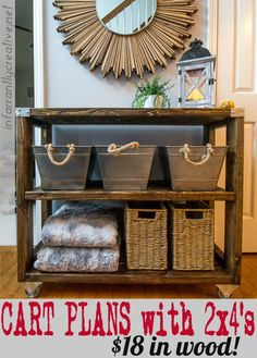 Use this DIY industrial hallway cart plan with 2x4's to recreate this look in your home.