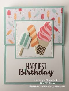 """Todays card is a very simple Z fold card that we did at Card Class last week. It was made with one of my favorite's from the Occasions Catalog 2017- """"Cool Treats"""" stamp set and coordinating """"Frozen Treats"""" framelits dies. The """"Tasty Treats"""" designer paper with those tiny little popcicles..."""