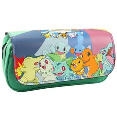 602e71d3b131 New Arrival  Anime Pikachu Chikorita etc Green Pencil Case Bag Student Stationery  Pouch Makeup Cosmetic