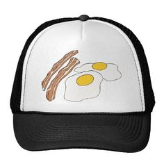 Bacon Eggs Breakfast Junk Snack Food Cartoons Art Mesh Hats #Food #Hats #Breakfast Shirts,Apron,Cards,Stickers,Bags,Gifts.