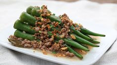 Okra pairs well with a light version of pork adobo for a fast side dish.