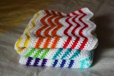 Crochet Rainbow & White Ripple Blanket, $40. Really lovely and bold.