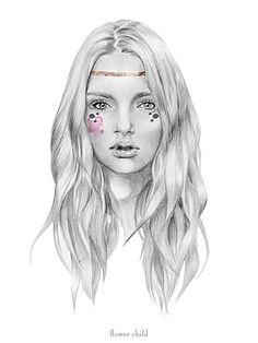 drawing, flower child, girl, illustration, kelly smith, portrait - inspiring picture on Favim.com