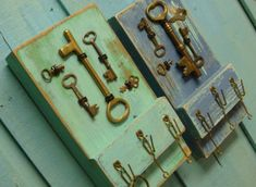 Here is another key holder inspiration perfect for a shabby chic home. I find the distressed wood base of this key holder quite pretty. The paint color is great, too. This is an Etsy listing but you can use this design to make something similar. If you have oversized skeleton keys, you have to give this project a go.