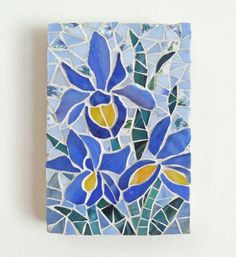 Mosaic art stained glass purple iris trio by ShellyHeissDesigns, $95.00