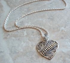 Heart Pendant Necklace Sterling Silver Marcasites Cutout Scroll Vintage #Unbranded #Pendant