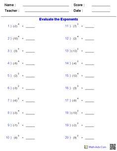 Integers with Simple Exponent Worksheets