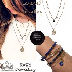 Ketting layered gold strass Boze oog