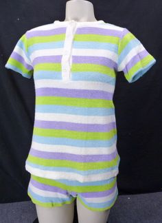 c1da561ff0 Vintage 60s Terrycloth Stripes Beach Set! Shorts  amp  T-Shirt Pastels Surf  Swim