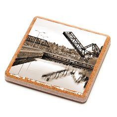 Ballard Draw Bridge Stone Drink Coaster