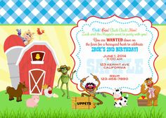 Muppets Farm Birthday Invite by ckfireboots on Etsy, $10.00