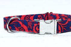 Dog Collar Red & Navy Blue Damask Dog Collar 4th by ZaleyDesigns, $25.00
