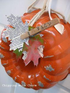 a few fall re purposing ideas, chalkboard paint, crafts, repurposing upcycling, seasonal holiday decor, wreaths, cake pan to pumpkin wreath