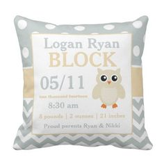 Grey Yellow Owl Child Announcement Pillow. ** Figure out more at the picture