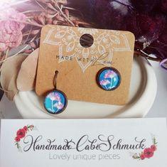 12mm Cabochon Ohrringe Ohrstecker Ohrhänger Blumen blau rosa, Edelstahl oder Bronzefassung