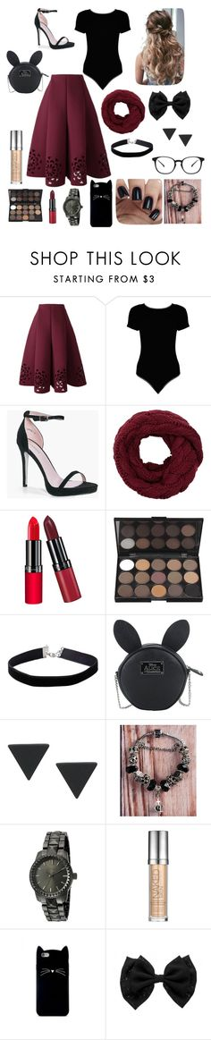 """""""Maroon & Black"""" by taylorr-gray ❤ liked on Polyvore featuring Boohoo, Rimmel, Miss Selfridge, Disney, SO & CO, Urban Decay and Forever 21"""