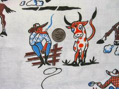 Vintage Feedsack Flour Sack Novelty Cotton Fabric // by anne8865, $76.50
