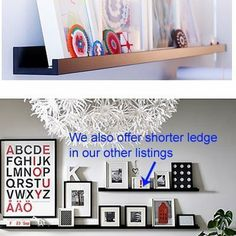 """Modern Black Floating Ledge for Photos, Pictures and Frames 45 1/4"""" Long by Fasthomegoods. $29.99. - The picture ledge makes it easy to vary your favorite motifs as often as you like.. Product dimensions Length: 45 1/4 """" Depth: 3 1/2 """" Max. load: 16.53 lb  Good to know Recommended for pictures that are max. 15 3/4"""" high. Pictures that are higher will not stand properly on the ledge and may fall. Different wall materials require different types of fasteners/screws. Use fasteners/..."""