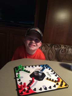 Games in the RV with cutest boy.