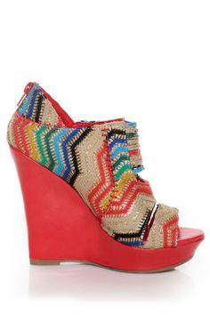Mona Mia Lori Red Multi Rainbow Peekaboo Peep Toe Wedges - $46.00