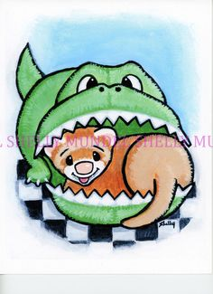 "Art by Shelly Mundel. Ferret People   Happy as ""A Ferret in a Gator House"" 8x10 #OutsiderArt"