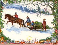 Bringing home the Christmas tree; Tasha Tudor