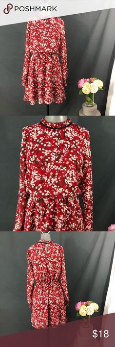 H&M Divided Cherry Blossom Dress Size 6 Stunning  H&M Divided  Cherry Blossom Dress  Sheer Long Sleeve  Size 6  Elastic Waist H&M Dresses Midi