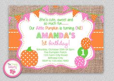 Fall Pumpkin 1st Birthday Invitation  Fall by TheTrendyButterfly