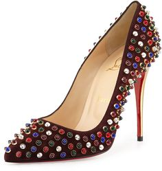 Christian Louboutin Follies Cabo Suede Red Sole Pump, Wine on shopstyle.com