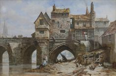 Louise Ingram Rayner (British watercolour artist) 1832 - 1924 Old Elvet Bridge, Durham, s. watercolour x cm. x 18 in.) signed 'Louise Rayner' (lower right) private collection Westminster, Wells, Birmingham, Durham England, Durham City, St Johns College, Derelict Places, Victorian London, English Artists